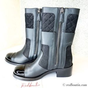 Chanel CC Quilted black leather mid  boots